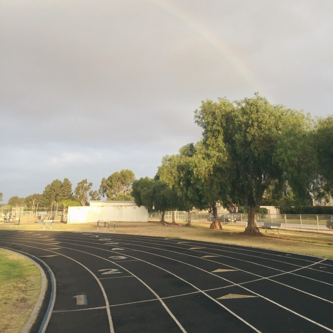 Running track with rainbow in Corona Del Mar, California
